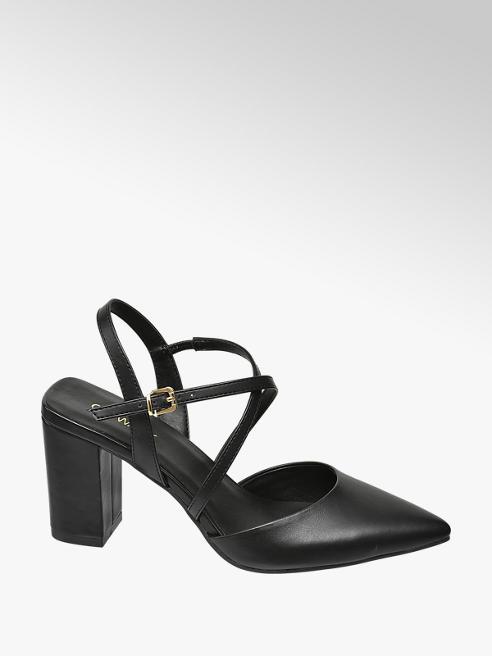 Catwalk Čierne sandále na podpätku Catwalk