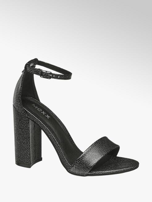 MEXX Čierno-strieborné sandále na podpätku Mexx
