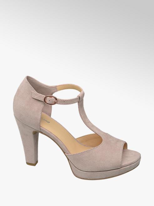Graceland jasnoróżowe sandałki damskie Graceland na obcasie
