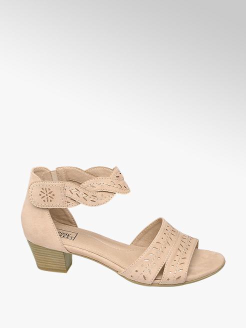 Easy Street jasnoróżowe sandały damskie Easy Street z paseczkiem wokół kostki
