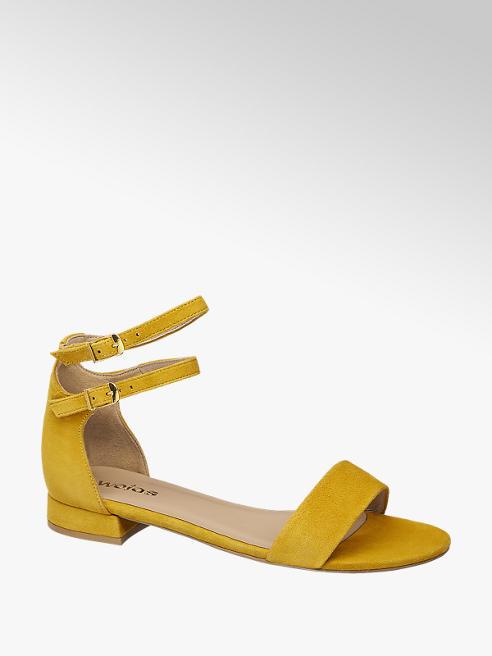 Wojas Žlté kožené sandále Wojas