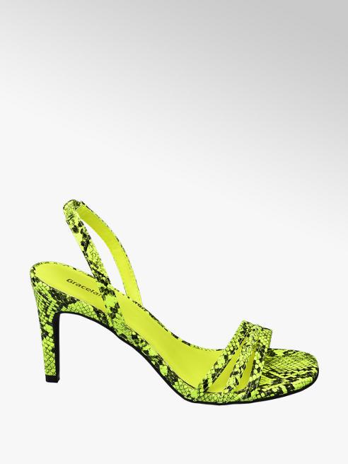 Graceland Žlté sandále na podpätku Graceland so zvieracím vzorom