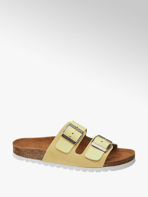 Vero Moda Žluté kožené pantofle Vero Moda
