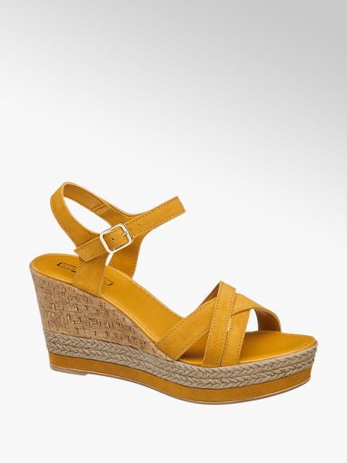 5th Avenue Žluté kožené sandály na klínku 5th Avenue