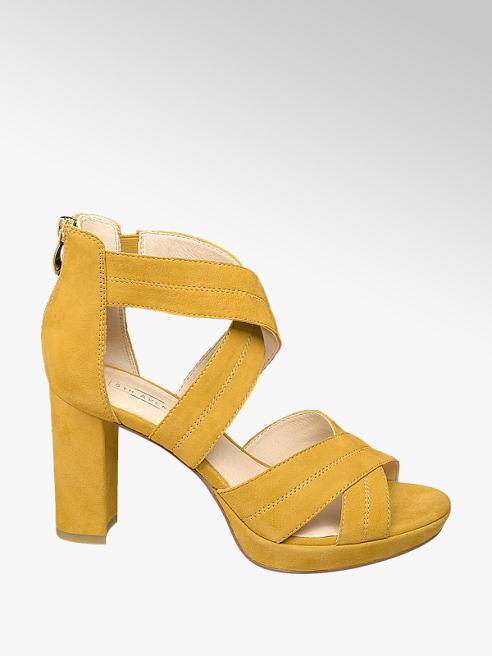 5th Avenue Žluté kožené sandály na podpatku 5th Avenue