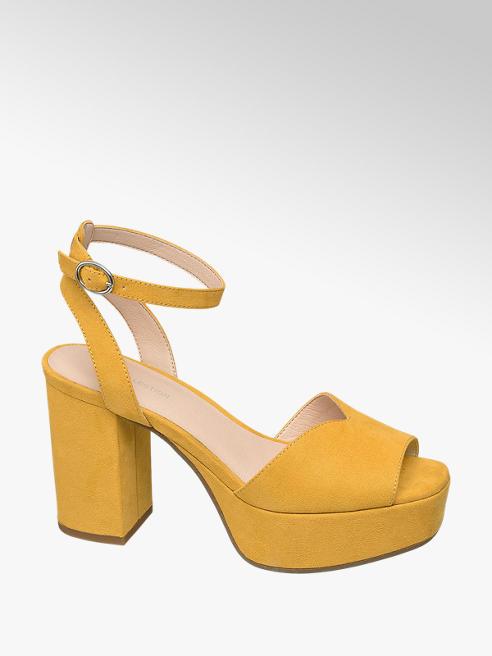 Star Collection Žluté sandály na podpatku Rita Ora