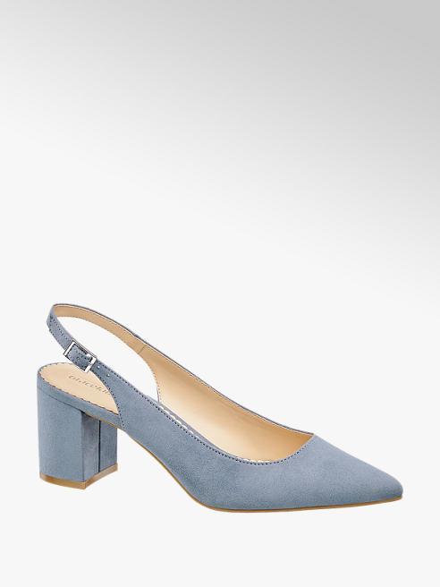 Graceland niebieskie czółenka damskie Graceland z odkrytą piętą