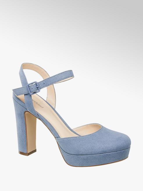 Graceland niebieskie sandały damskie Graceland na obcasie