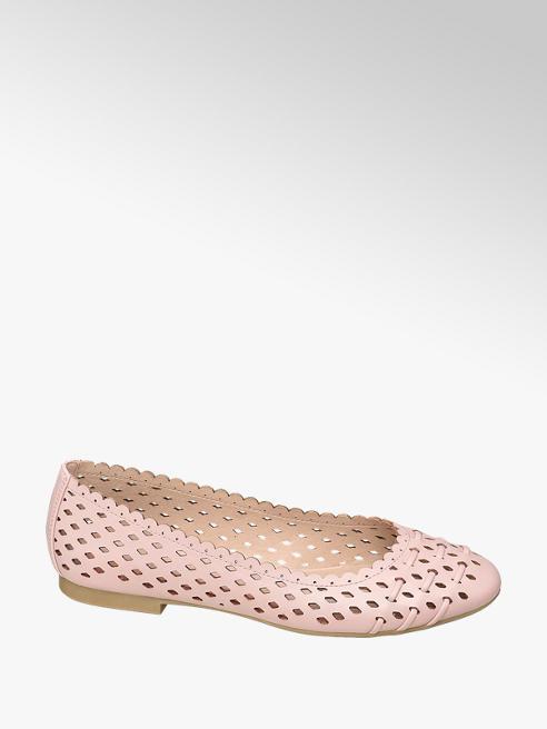 Graceland różowe ażurowe baleriny damskie Graceland