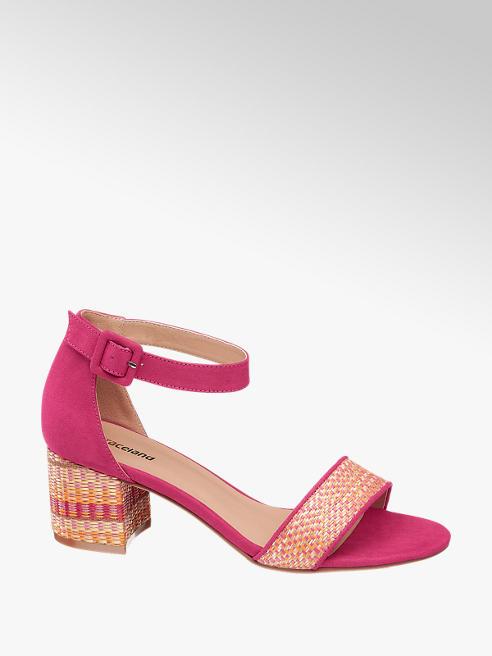 Graceland różowe sandałki damskie Graceland na zdobionym obcasie