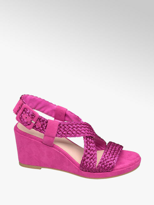 Star Collection różowe sandały damskie Star Collection na koturnie