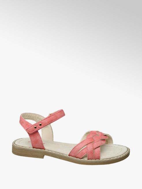 Graceland różowe sandały dziewczęce Graceland ze skórzaną wkładką