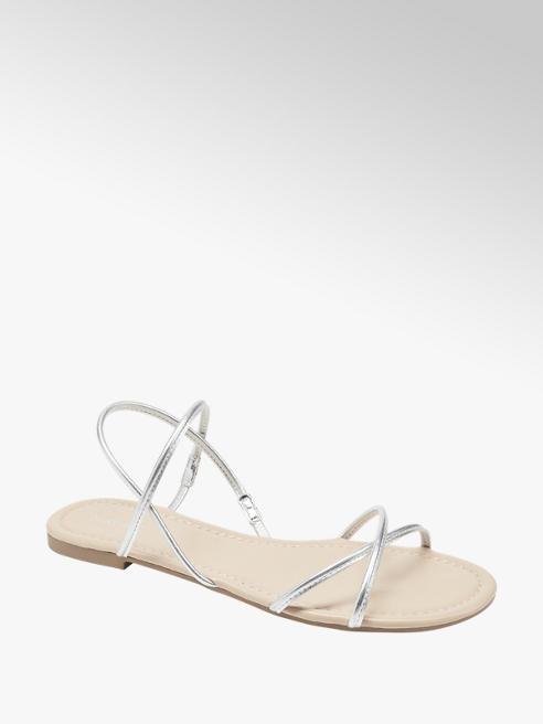 Graceland srebrne płaskie sandaly damskie Graceland