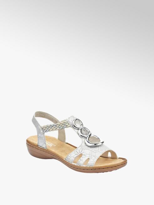 Rieker srebrne sandały damskie Rieker na wygodnym obcasie