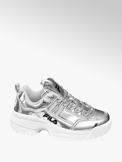 Fila srebrne sneakersy damskie Fila na białej podeszwie