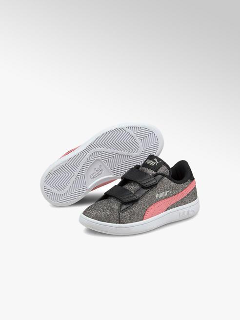 Puma srebrno-różowe sneakersy dziewczece PUMA SMASH V2 GLITZ GLAM
