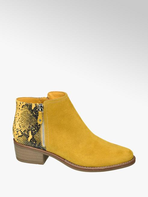 Catwalk żółte botki damskie Catwalk z wężowym wzorem