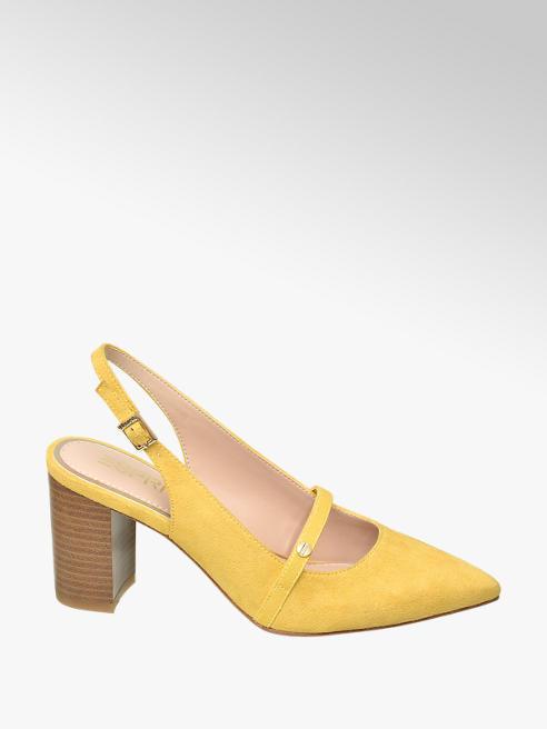Esprit żółte czółenka damskie Esprit na brązowym obcasie