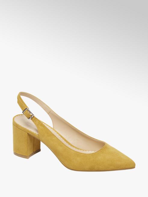 Graceland żółte czółenka damskie Graceland z odkrytą piętą