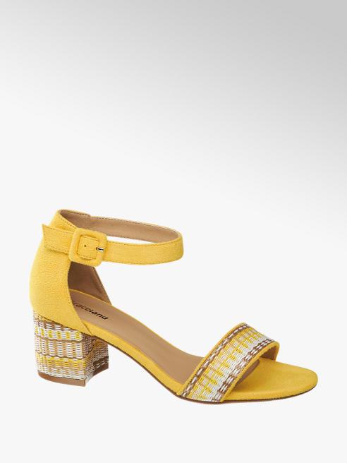 Graceland żółte sandałki damskie Graceland na zdobionym obcasie