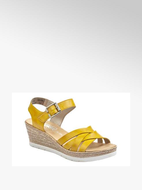 Rieker żółte sandały damskie Rieker na koturnie