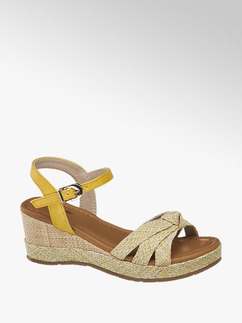 Graceland żółte sandały dziewczęce na koturnie