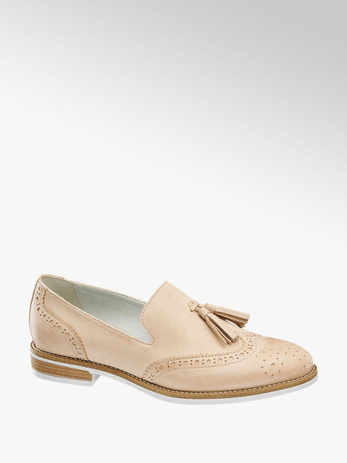 5th Avenue Beige Leather Brouge Detail Tassle Loafers