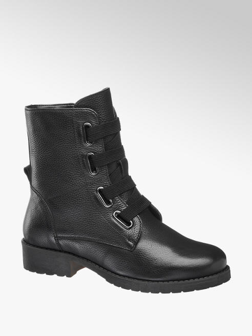 5th Avenue Black Chunky Lace-up Ankle Boots