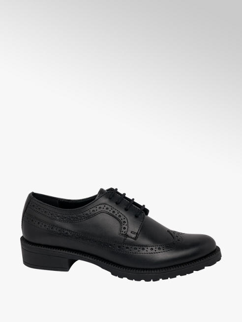 5th Avenue Black Leather Lace Up Brogues