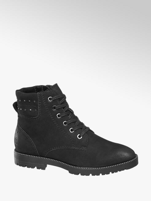 5th Avenue Black Studded Leather Lace Up Ankle Boots