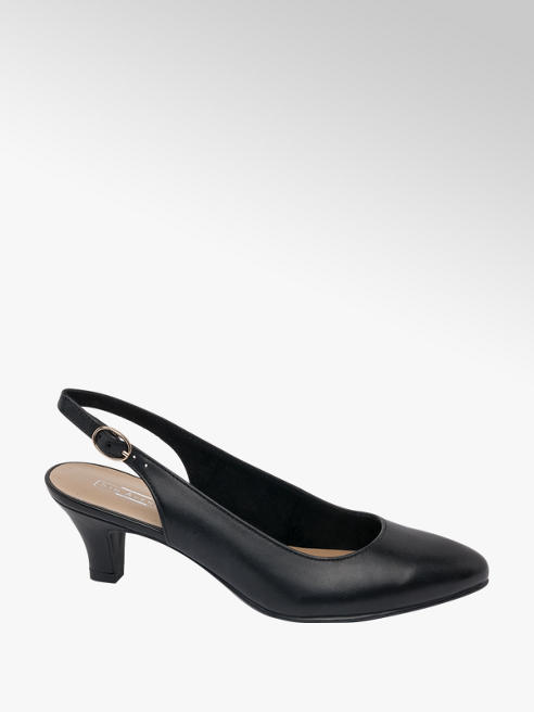 5th Avenue Black Leather Slingback Heels