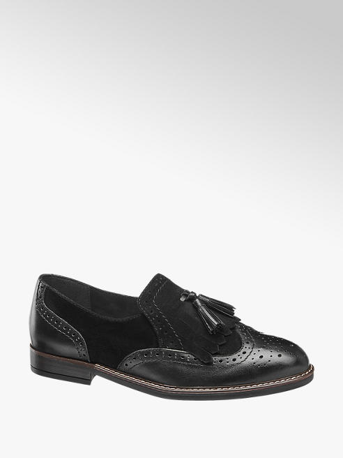 5th Avenue Black Leather Tassel Loafers
