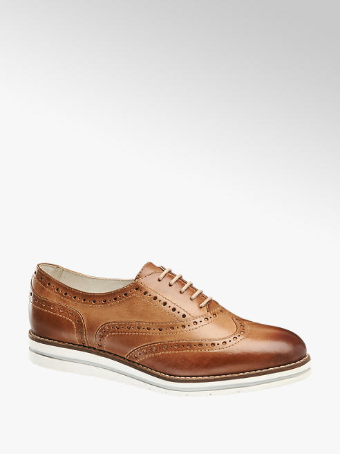 5th Avenue Brown Leather Contrast Sole Brogues