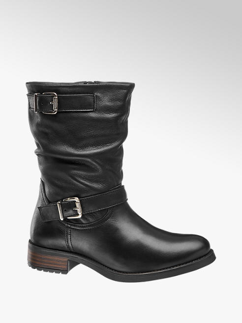 5th Avenue Black Buckle Detail Leather Boots