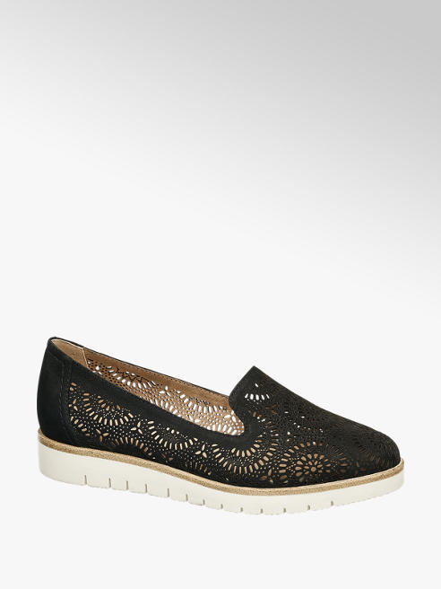 5th Avenue Black Leather Laser Cut Floral Loafers