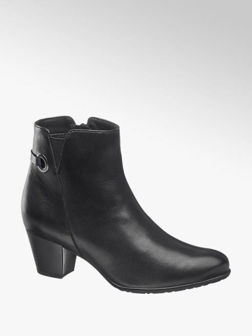 5th Avenue Black Eyelet Detail Leather Boots