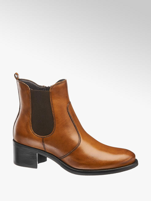 5th Avenue Tan Block Heeled Chelsea Boots