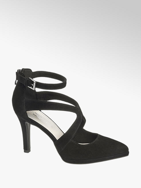 5th Avenue Black Leather Strappy High Heels