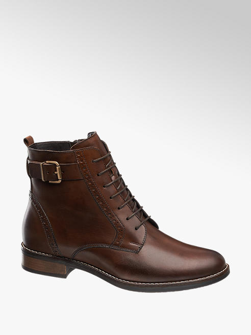 5th Avenue Brown Lace-up Leather Ankle Boots