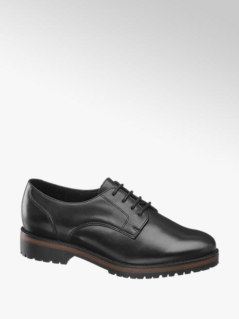 5th Avenue Black Leather Lace Up shoes