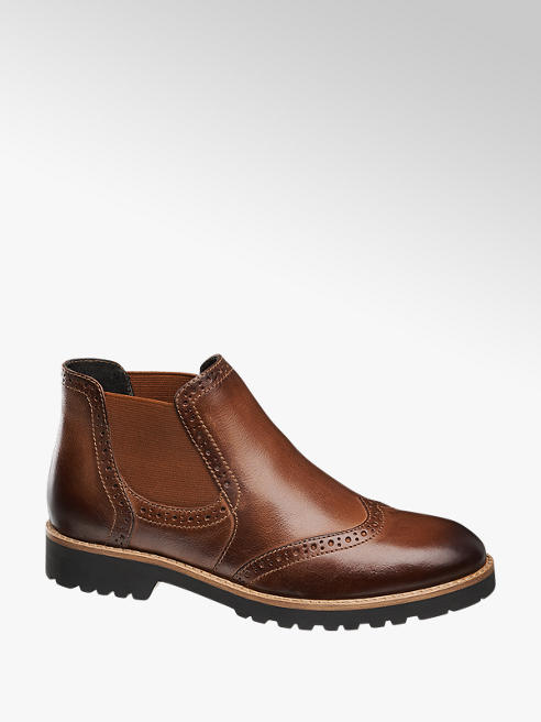 5th Avenue Brown Brogue Detail Leather Ankle Boots