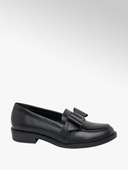 5th Avenue Black Leather Bow Trim Loafers
