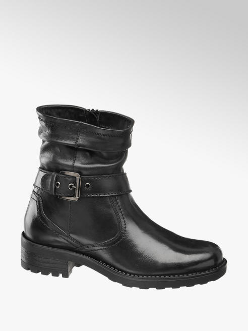 5th Avenue Black Leather Buckle Detail Ankle Boots