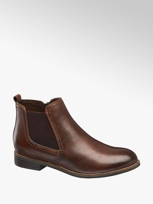 5th Avenue Brown Leather Chelsea Boots
