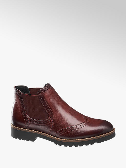 5th Avenue Burgundy Leather Brogue Detail Chelsea Boots