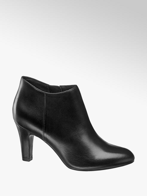 5th Avenue Black Leather Heeled Ankle Boots