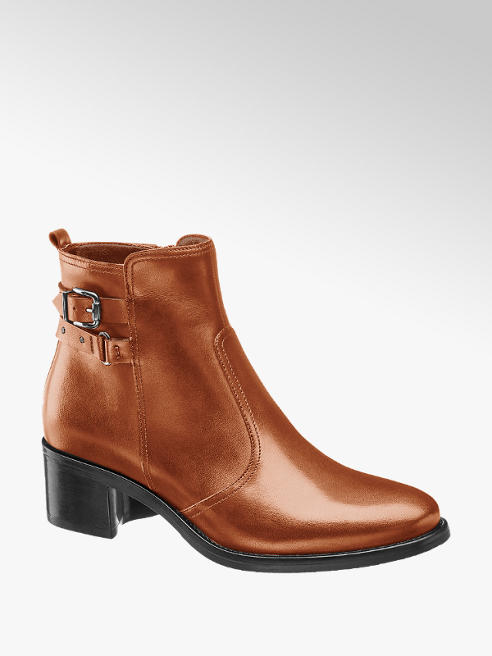 5th Avenue Cognac Leather Heeled Ankle Boots