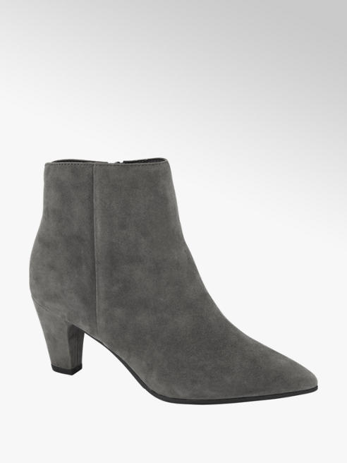 5th Avenue Grey Leather Heeled Ankle Boots