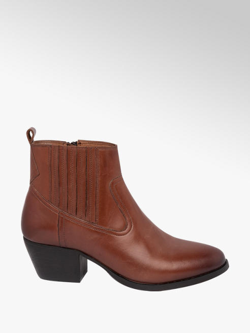 5th Avenue Tan Leather Heeled Chelsea Boots