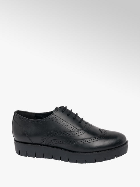 5th Avenue Black Leather Lace-up Brogues